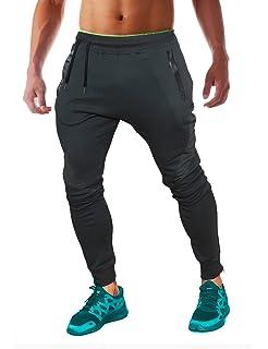 FLYFIREFLY Pantalones de gimnasio para hombre, ajustados, pantalones de fitness, pantalones de chándal con cremallera, pantalones…
