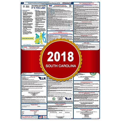 2018 South Carolina State and Federal Labor Law Poster - Laminated 27'' x 40'' by Labor Law Posters