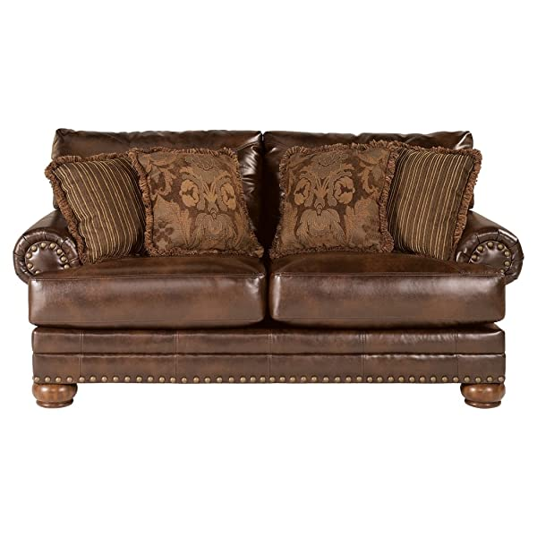 Ashley Furniture Signature Design - Chaling Loveseat with 4 Accent Pillows- Traditional and Weatherworn Style - Antique Brown