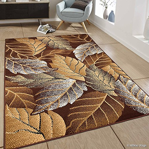 - Allstar 5x7 Dark Brown Modern and Contemporary Rectangular Accent Rug with Ivory, Mocha and Espresso Botanical Design (5' 2