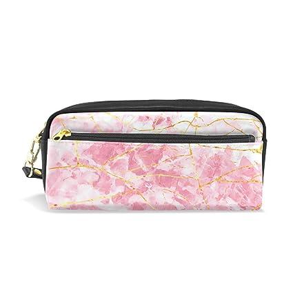 Estuche de viaje para lápices de mármol de oro rosa, bolsa ...