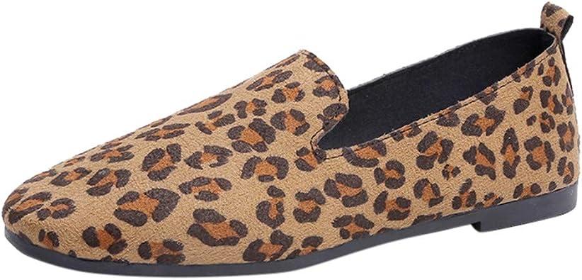 round toe leopard flats