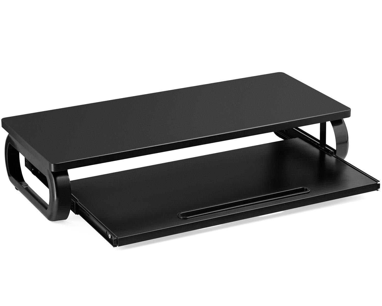 Halter Monitor Stand, Laptop Stand, Monitor Riser w/Keyboard Tray - Premium Home & Office Desk Organizer (Black)