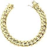 "6MM - 10.5MM 10K Yellow Gold Hollow Miami Cuban Curb Link Bracelet Chains 8.5"" - 9"", Gold Bracelet for Men & Women, 100…"