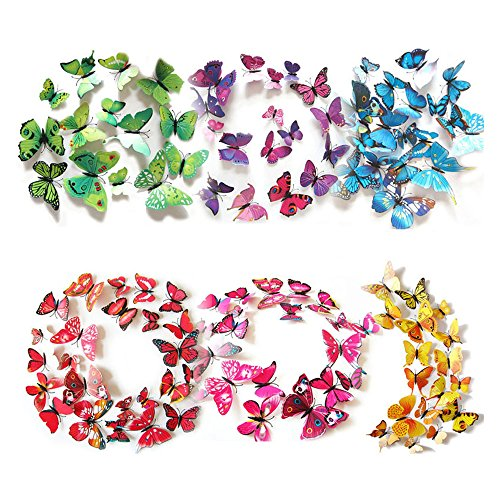 ElecMotive 3D Butterfly Wall Decals 72 Pcs 6 Packages with Sponge Gum and Magnet, Beautiful Removable, Decor Wall Stickers & Murals for Bedroom TV Background Living Room (Colorful - Six Color) ()
