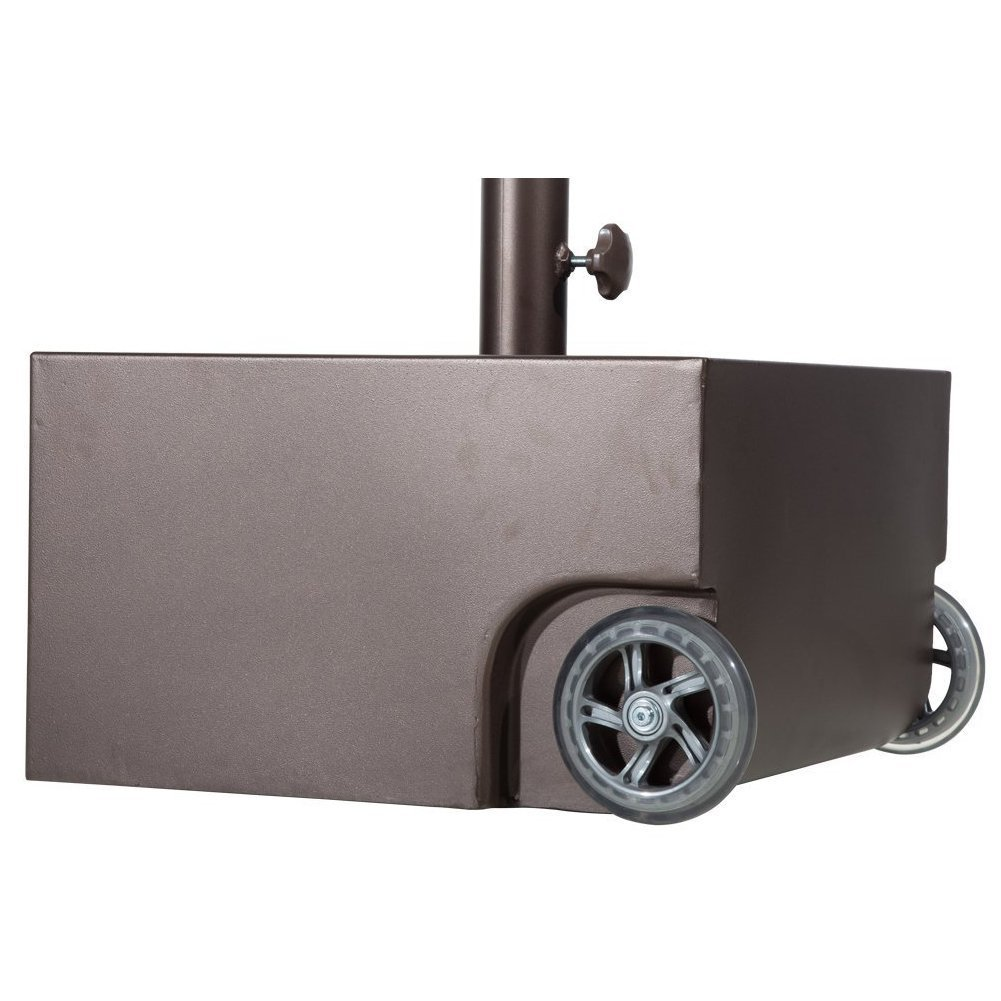 Abba Patio Umbrella Base Steel Patio Umbrella Stand with Two Wheels, Steel Planter, 17.7L x 17.7W x 10.2H inch APBASE5C
