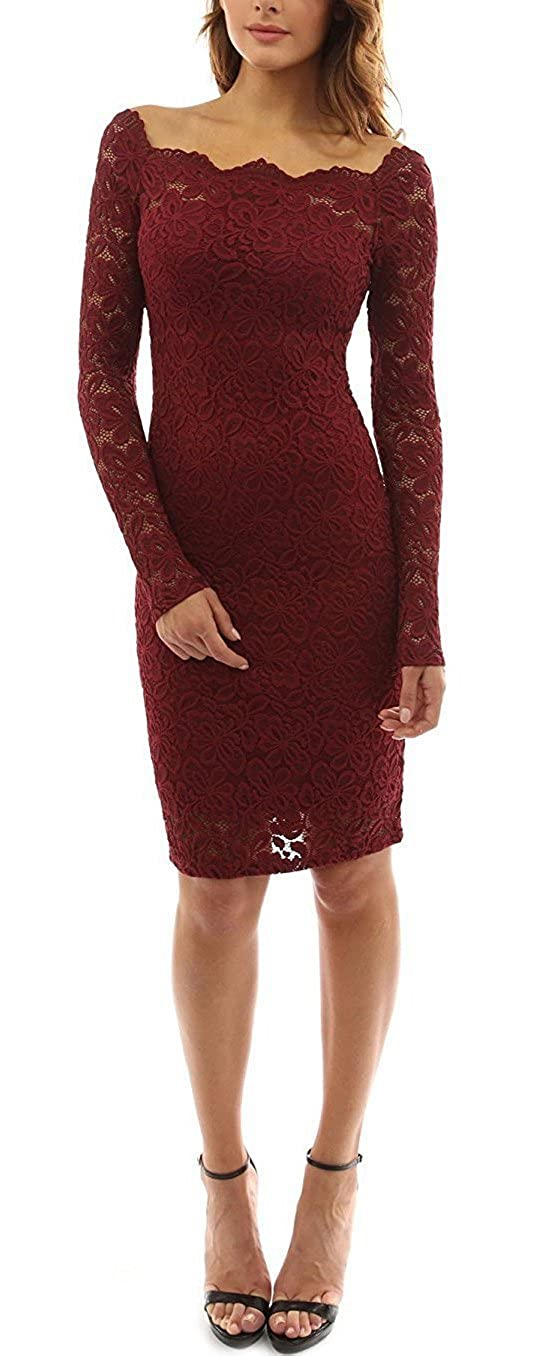 a98c921fc872 sekitoba-japan.inc Off The Shoulder Long Sleeve Floral Lace Dress for Women  White and Wine red Burgundy at Amazon Women s Clothing store