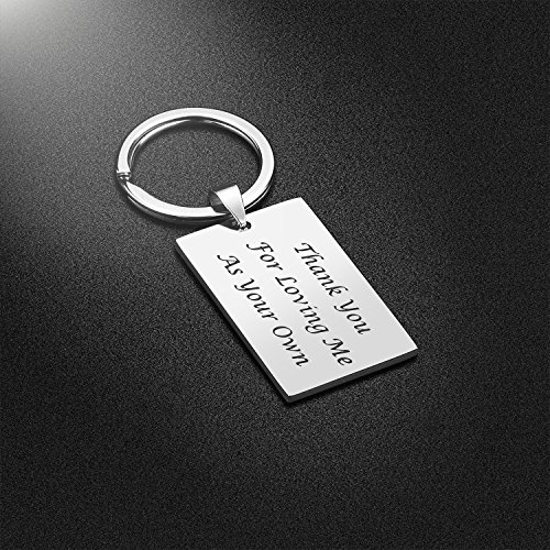 Large Product Image of Step Father Dad Keychain Gifts - Dad Gift idea for Fathers Day from Wife Daughter Son Kids, Stainless Steel Jewelry Birthday Gifts for Men Husband Christmas Valentines Gifts (Step Father)