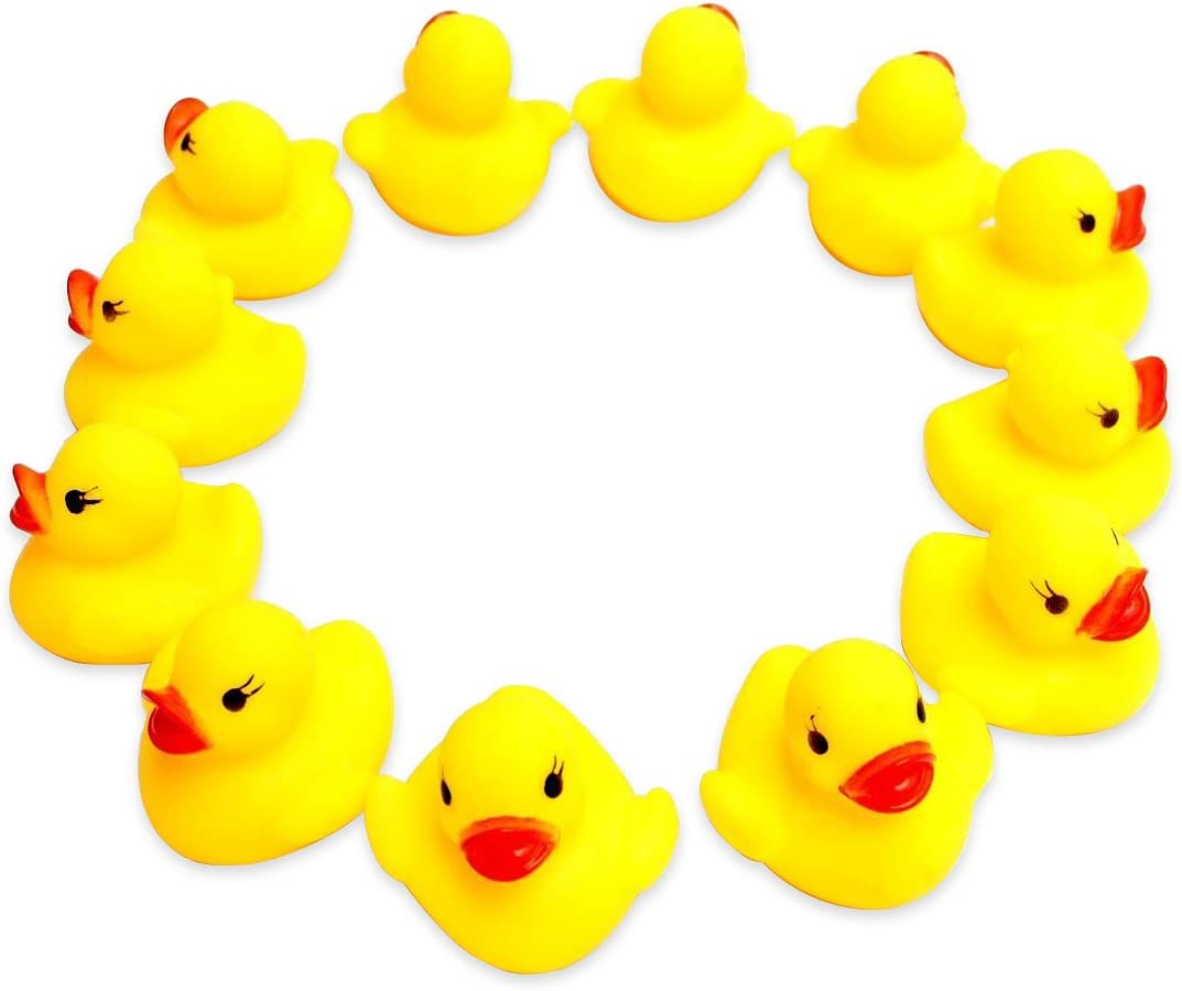 Rubber Duck Ducky Baby Bath Toy for Kids Float /& Squeak 48 Pcs Novelty Place