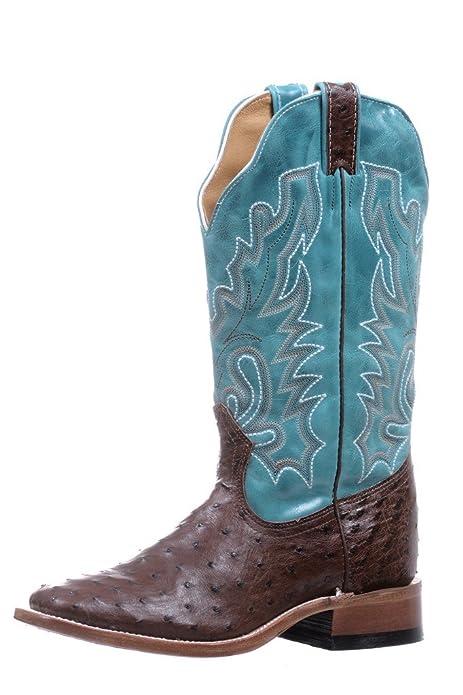 babb182b9a Botas Americanas - exótico (Avestruz) - Botas Cowboy bo-5508-c (pie Normal)  - Mujer - Cuero - Azul Marrón  Amazon.es  Zapatos y complementos