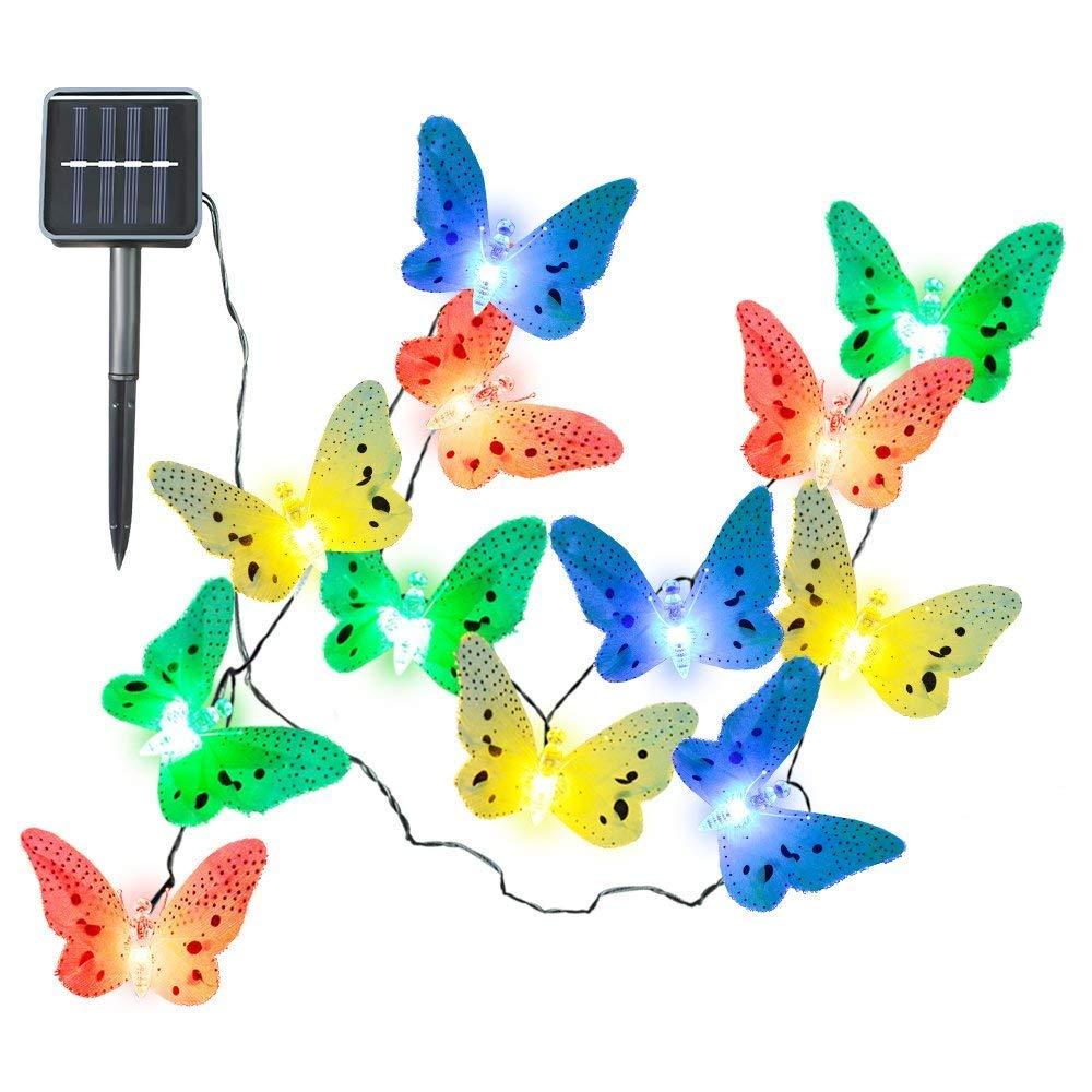 cuzile 12 LED Solar Cadena de Luz de Navidad con Diseño de Mariposa de Fibra Óptica para Exterior, Patio, Jardín, Boda, Fiesta, Terraza, Navidad, Primavera, Verano, Otoño