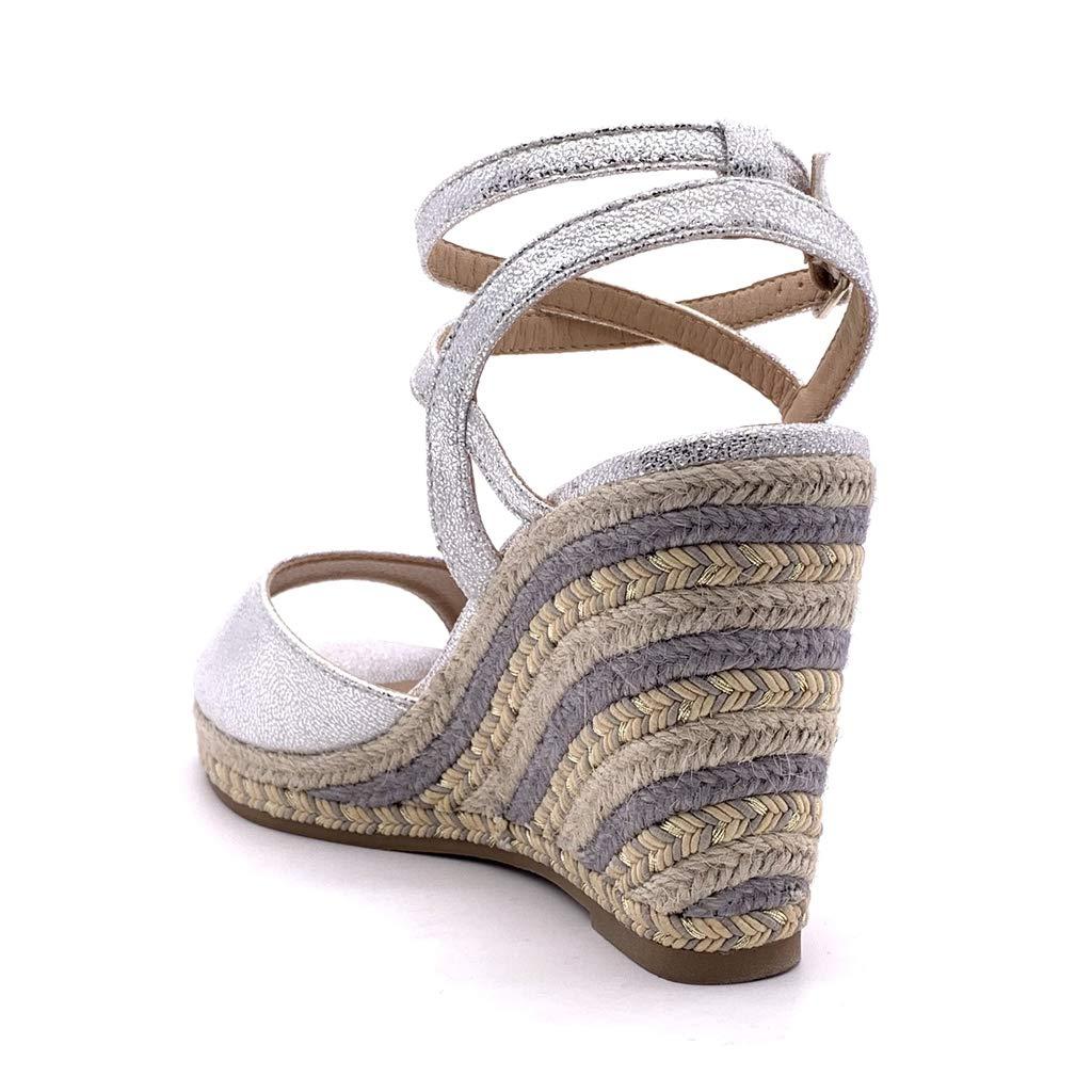 Angkorly Chaussure Mode Sandale Espadrille Folk//Ethnique boh/ème Ouverte Femme Corde avec de la Paille Multi-Bride Talon compens/é