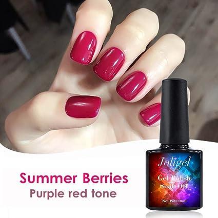Joligel Esmalte Semipermanente Uñas Gel Shellac Soak Off Manicura Diseño Uñas Permanente, Color Rojo Fucsia, 10ML: Amazon.es: Belleza
