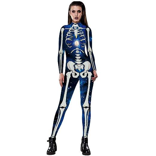 YSZDM Mono Esqueleto de Mujer Traje de Mallas de Halloween ...