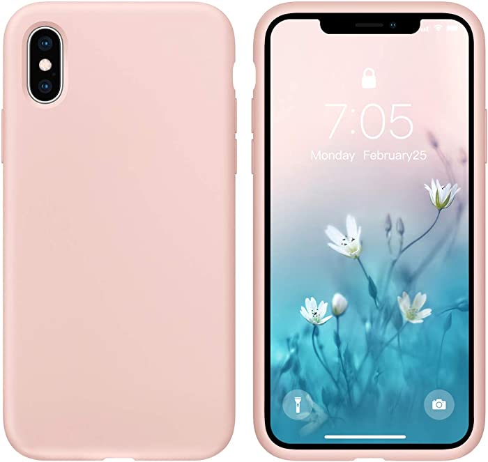 OUXUL Case for iPhone X/iPhone Xs 5.8 inch Liquid Silicone Gel Rubber Phone Case,Full Body Slim Soft Microfiber Lining Cushion Shockproof Protective Case Compatible with iPhone X/iPhone Xs (Pink Sand)