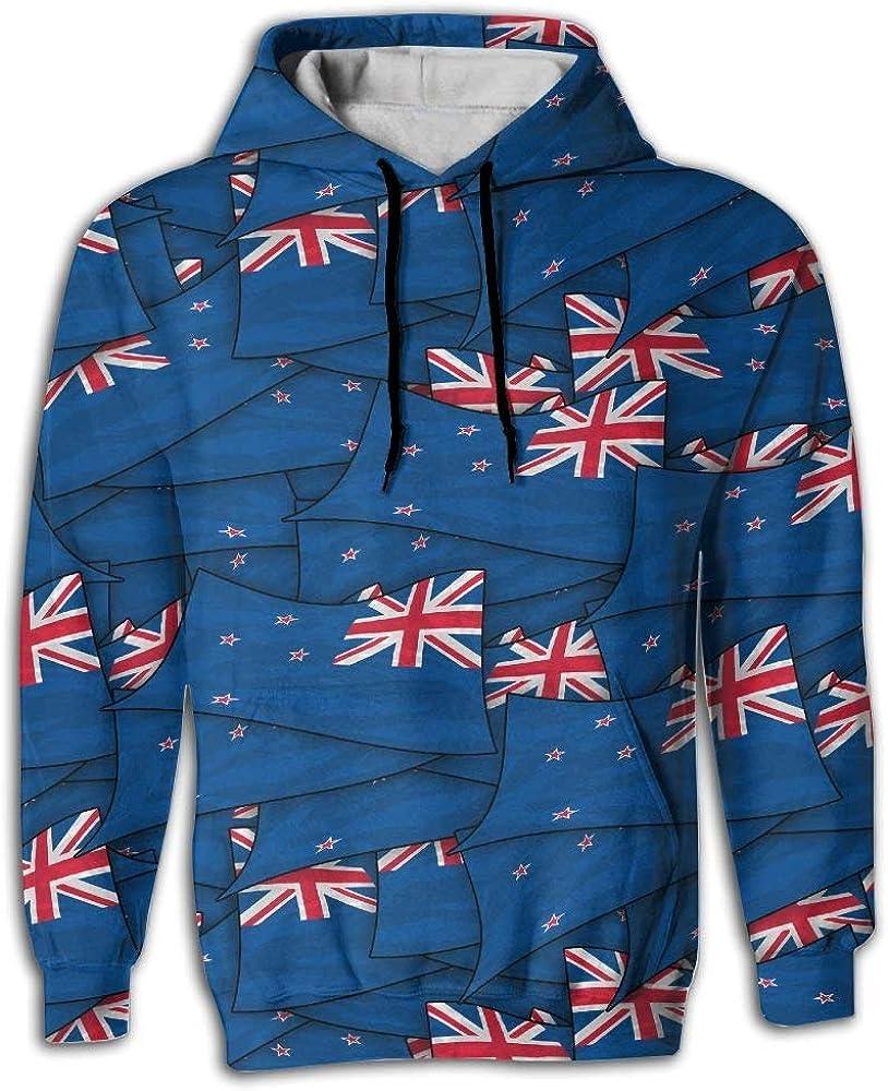 KLING Bandera de Nueva Zelanda Wave Collage Sudadera con Capucha Sudadera con Capucha Sudadera con Estampado 3D con Grandes Bolsillos Cordón para Hombres: Amazon.es: Ropa y accesorios