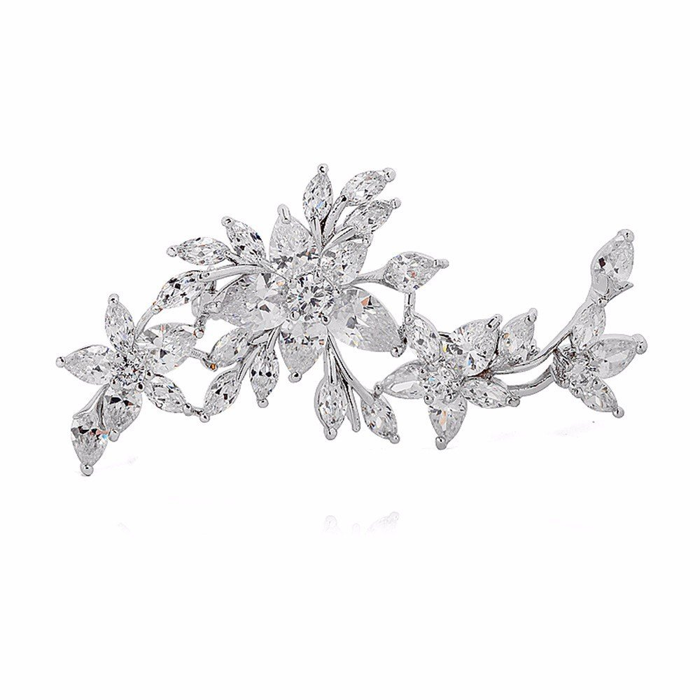 GULICX White Gold Plated Zircon Flower Blossom Diamante Brooch Badge Pin Wedding for Women Gelei Jewelry Co. Ltd. AX06a
