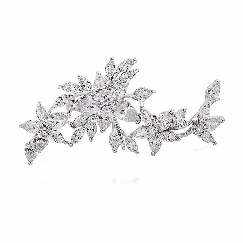 GULICX chapado oro blanco Zircon flor diamante broche insignia Pin boda para