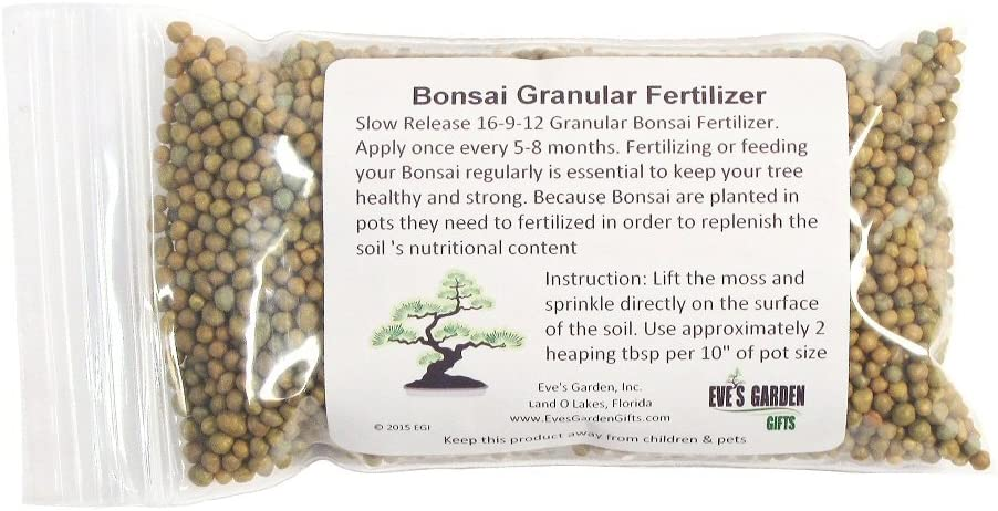 Eve's Garden Special Blend of Bonsai Fertilizer Granular Slow Release Pellets Safe and Highly Effective Food for Bonsai Trees and House Plants 5oz Package - Sold Only by Eve's Garden
