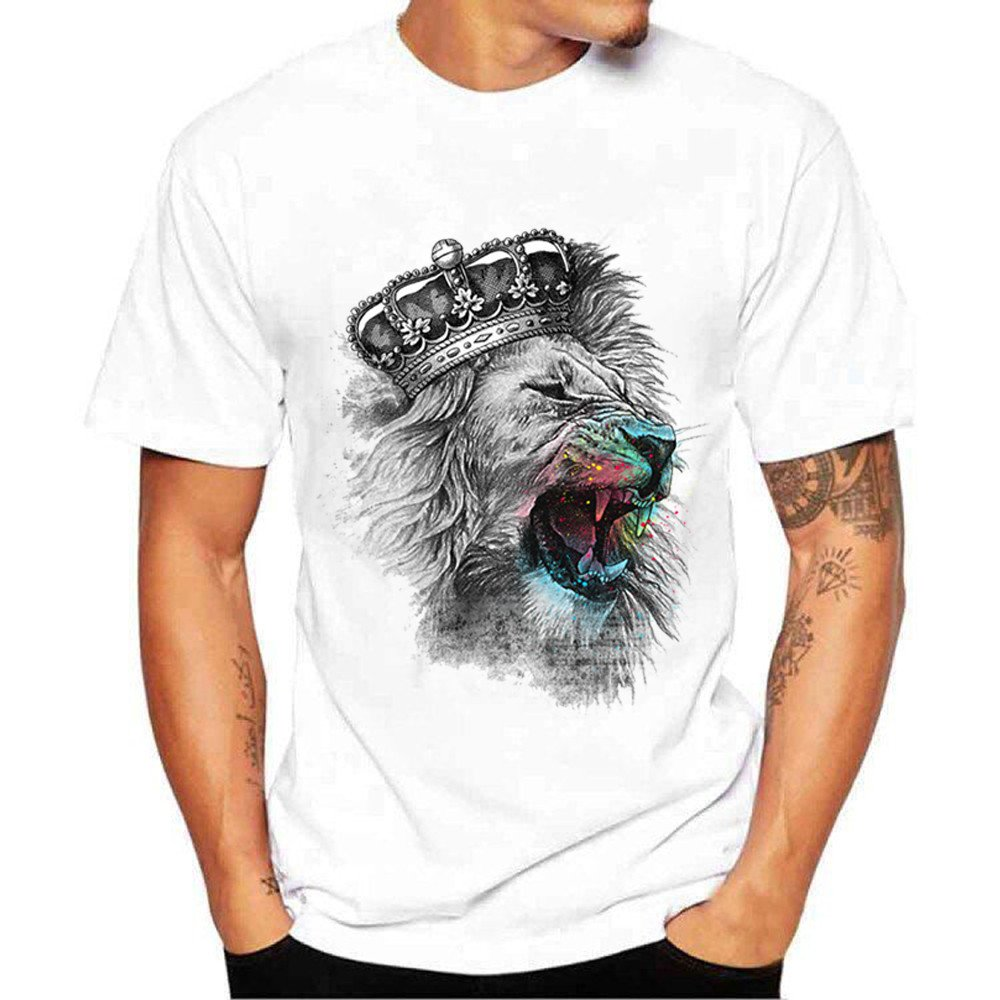 XQXCL Men's Leisure Personality Lion Crown Printing Solid Color Tees Round Neck Short Sleeve T-Shirt Top White