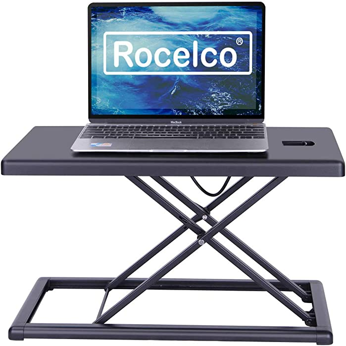 "Rocelco 19"" Portable Riser-Height Adjustable Travel Standing Desk Converter, Premium Compact Sit Standup Laptop Rising Workstation with Carry Bag, (R PDRB), Black"