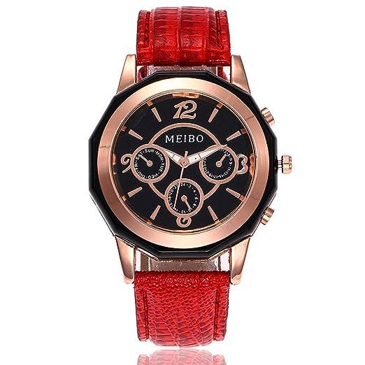 Relojes Mujer,❤LMMVP❤Casual de la mujer de cuero de cuarzo banda nueva correa reloj analógico reloj de pulsera (A): Amazon.es: Relojes