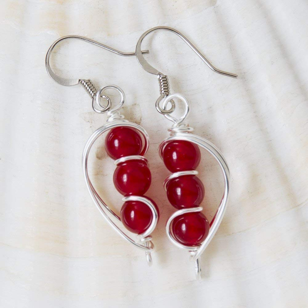 A PAIR SILVER PLATED WHITE JADE BEAD  EXTRA LONG DANGLY EARRINGS NEW.