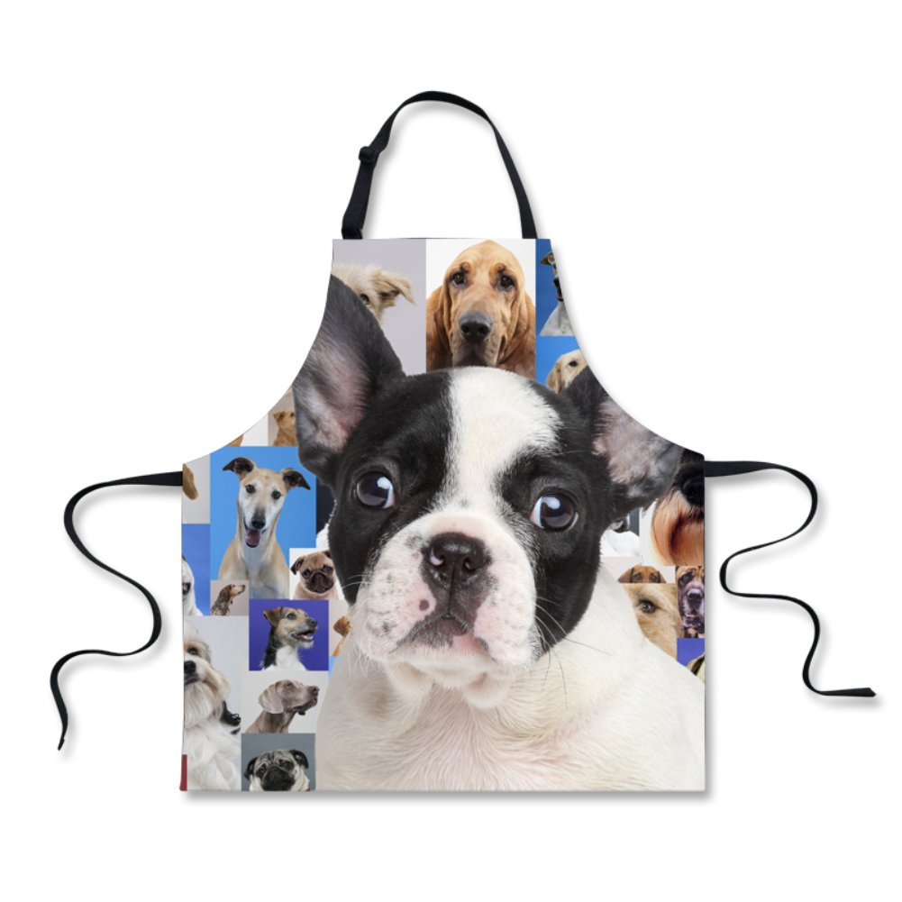 HUGS IDEA Cute Cooking Kitchen Bib Aprons for Men Women (Border Collie)