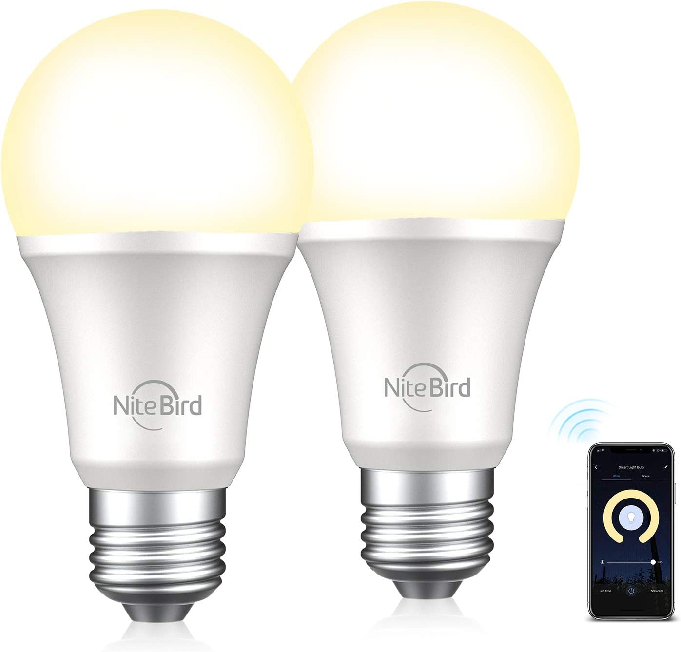 75W Equivalent Smart Light Bulb Compatible with Alexa Google Home No Hub Required 4 Pack NiteBird A19 E26 Wifi Dimmable Warm White 2700K LED Lights Bulbs