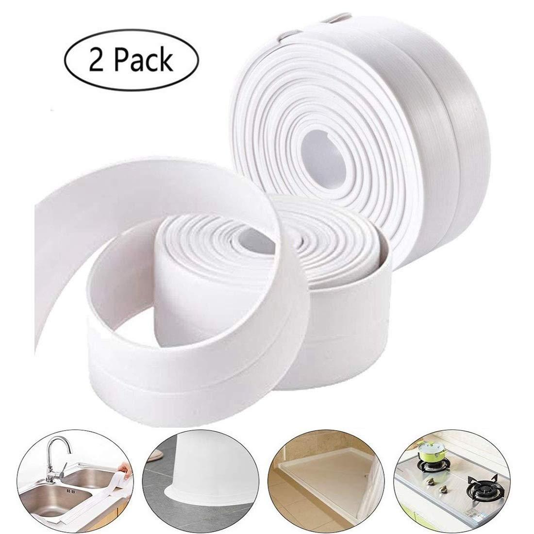 Caulk Strip, Ztent PE Self Adhesive Tape Sealing Tape Strip Waterproof Wall Sealant Caulking Roll for Bathtub Bathroom Shower Toilet Kitchen and Wall Sealing 11 Ft Length (38 mm 2 Pack, White)