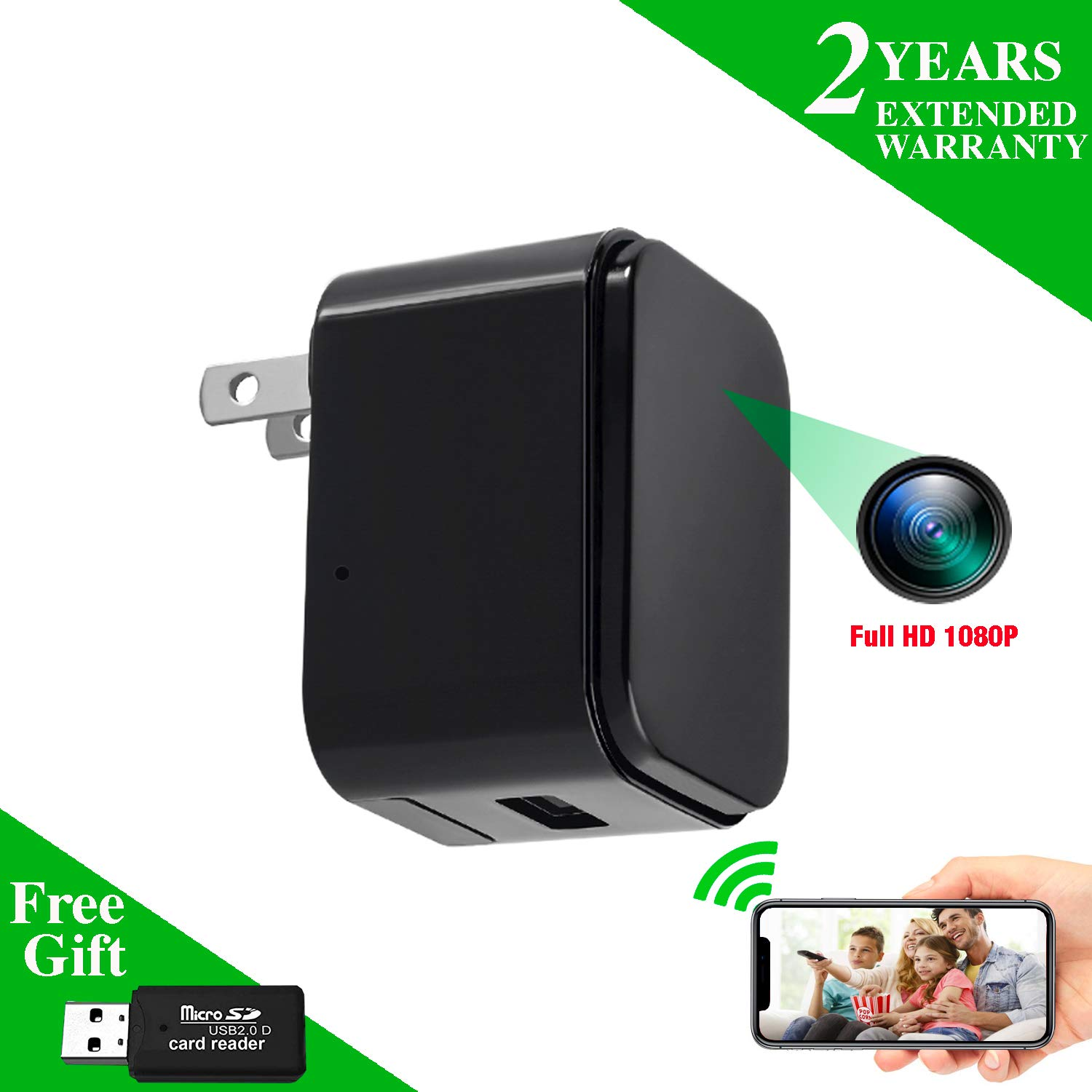 amazon com nanny camera usb phone charger wemlb 1080p hd covert