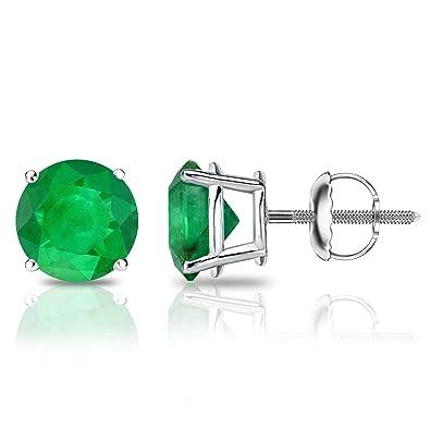 bad062d22 Amazon.com: 18k White Gold 4-Prong Basket Round Green Emerald Stud ...
