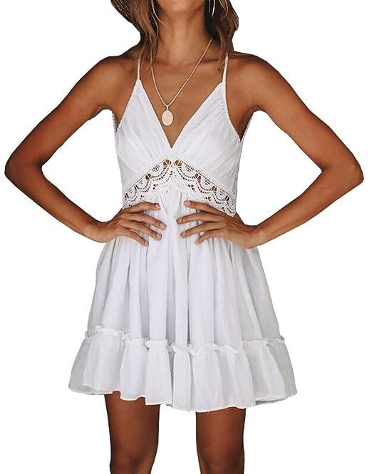 f54b668eb11c Yeesea Vestito Donna Elegante Di Pizzo Estate Sera Festa Spiaggia Mini Abito  Sundress bianco Small  Amazon.it  Abbigliamento