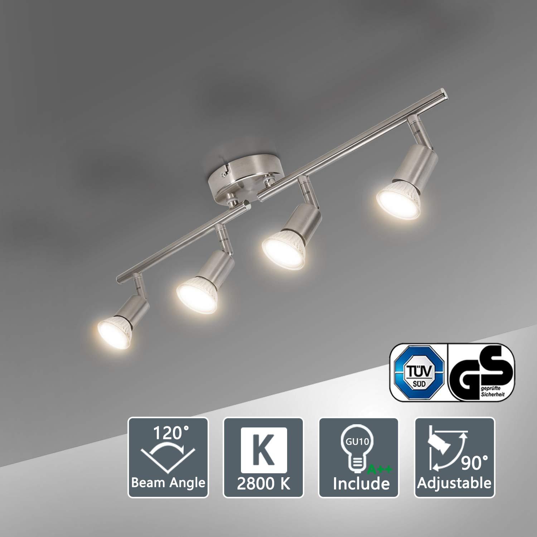 Bojim L/ámpara de techo LED Plaf/ón con Focos Giratorios 4X Bombillas GU10 Bajo consumo 6W 220V 2800K Blanco c/álido 600lm 82Ra IP20 N/íquel Mate Longitud