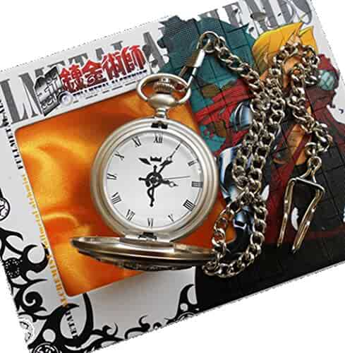 Touirch Fullmetal Alchemist Edward Elric's Gift Birthday Pocket Watch Cosplay Anime Accessory