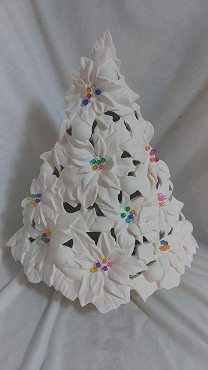 Poinsettia Tree 14 1 4 Ceramic Bisque Ready To Paint With Lighting Kit