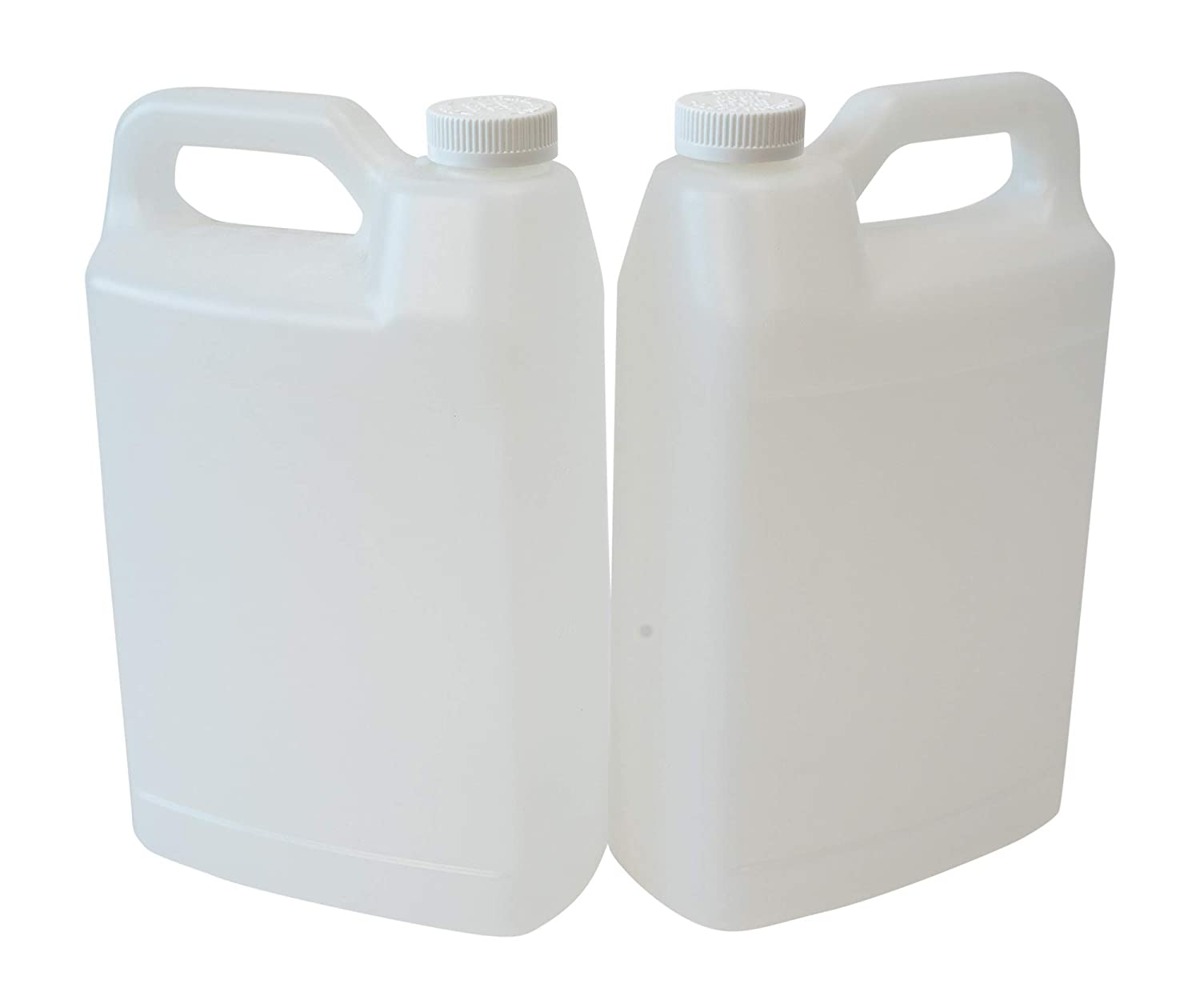 CSBD F-Style Clear Plastic Jug with Child Resistant Lid, 2 Pack, Storage Containers with Ergonomic Handle, HDPE Construction for Residential or Commercial Use, 1 Gallon