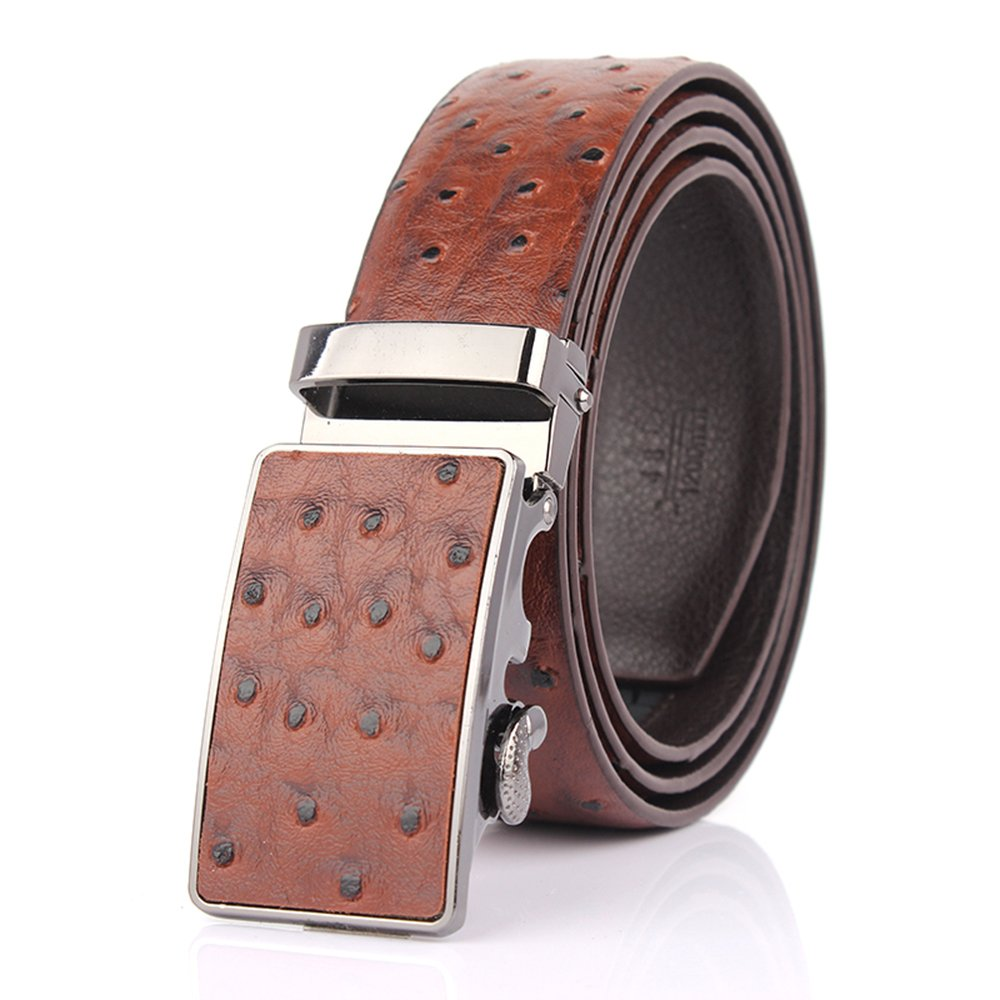 Sumcoa Men's Ostrich Skin Embossed Pattern Automatic Buckle Genuine Cow Leather Belts Ratchet Belt 35mm Wide 5 Color Dark Brown