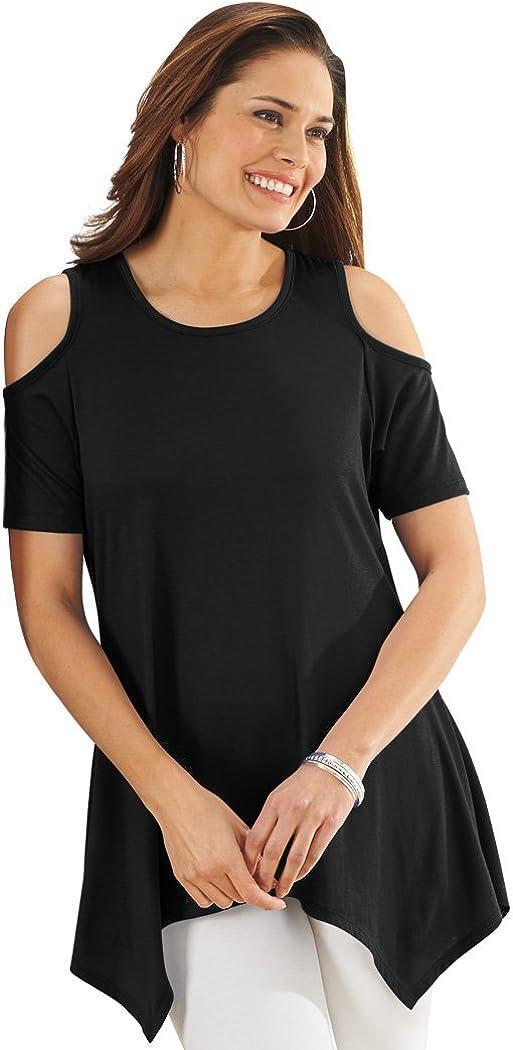 AmeriMark Women's Cold Shoulder Knit Tunic Shirt Top Sharkbite Hem Solid Colors