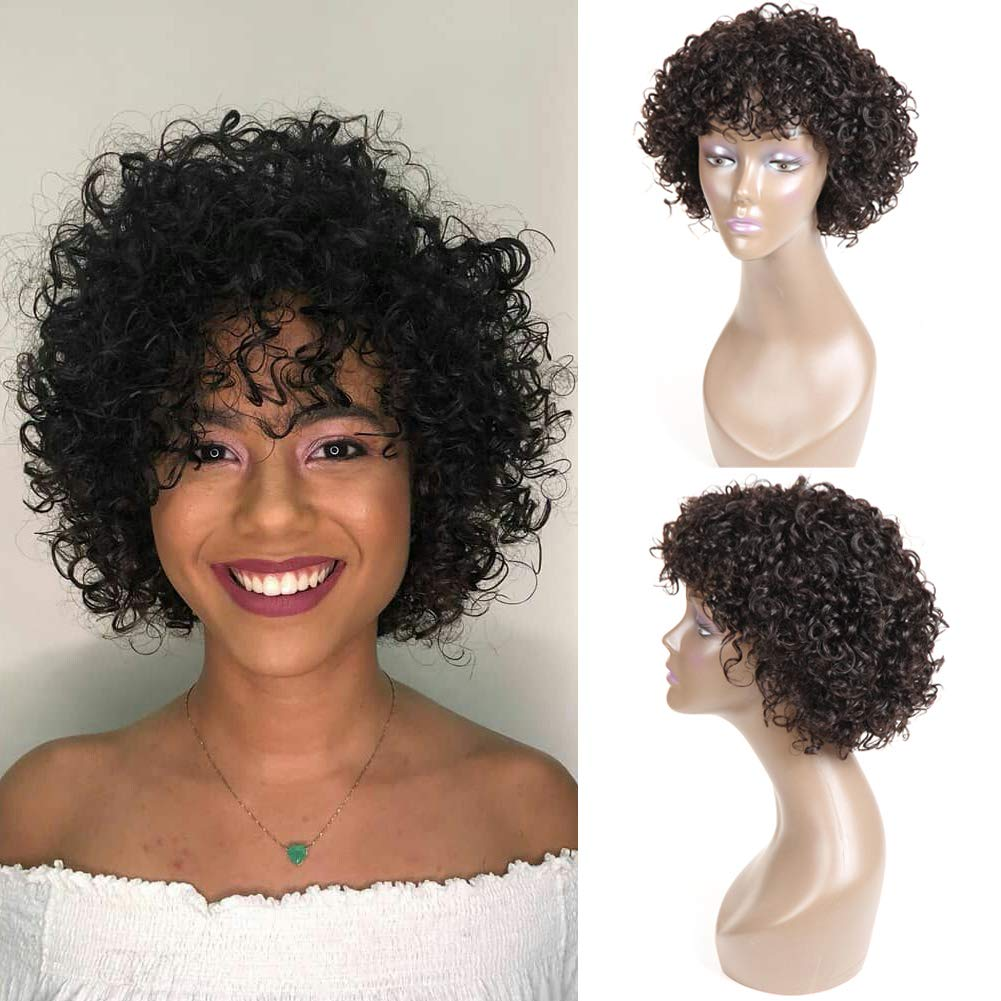 Short Curly Human Hair Wigs for Black Women,