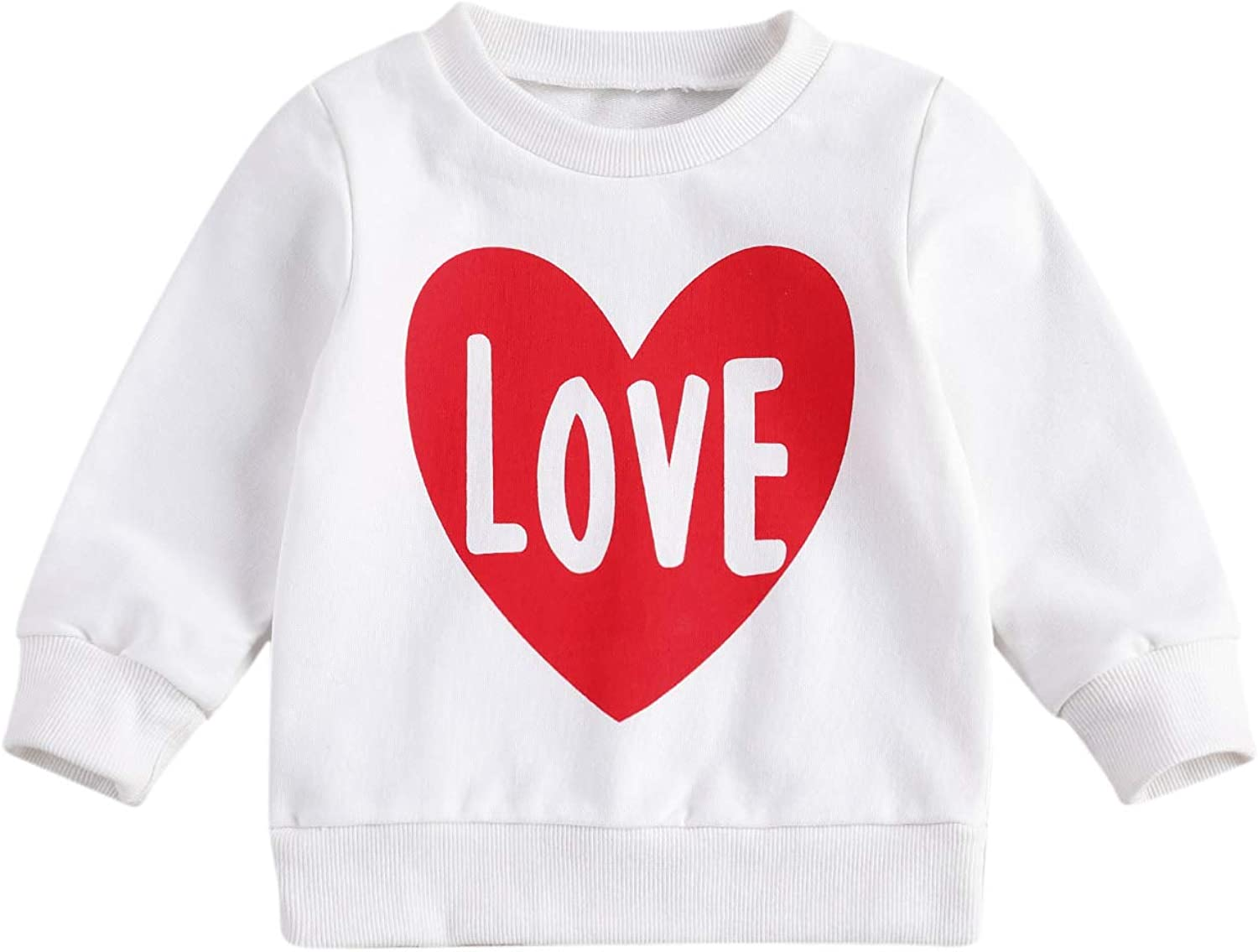 FYBITBO Toddler Baby Girl Knit Sweaters Heart Print Crewneck Pullover Sweatshirt Fall Winter Clothes