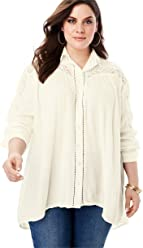 4ccb59dee7040 Roamans Women s Plus Size Crinkle Lace Tunic with Button-Front