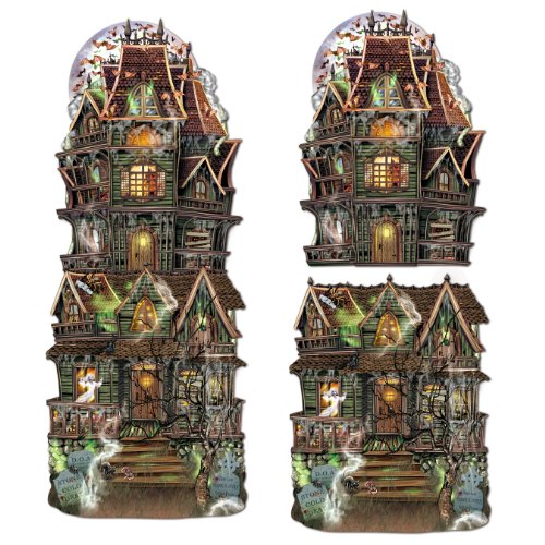 Beistle 2-Pack Jumbo Haunted House Cutouts, - House Haunted Paper