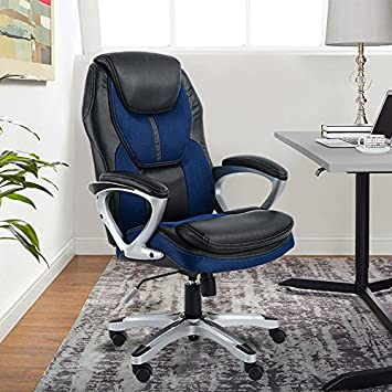 Serta at Home Executive Office Chair, Puresoft Faux Leather with Mesh, Black, 43673 Millwork Holdings Co. Inc.