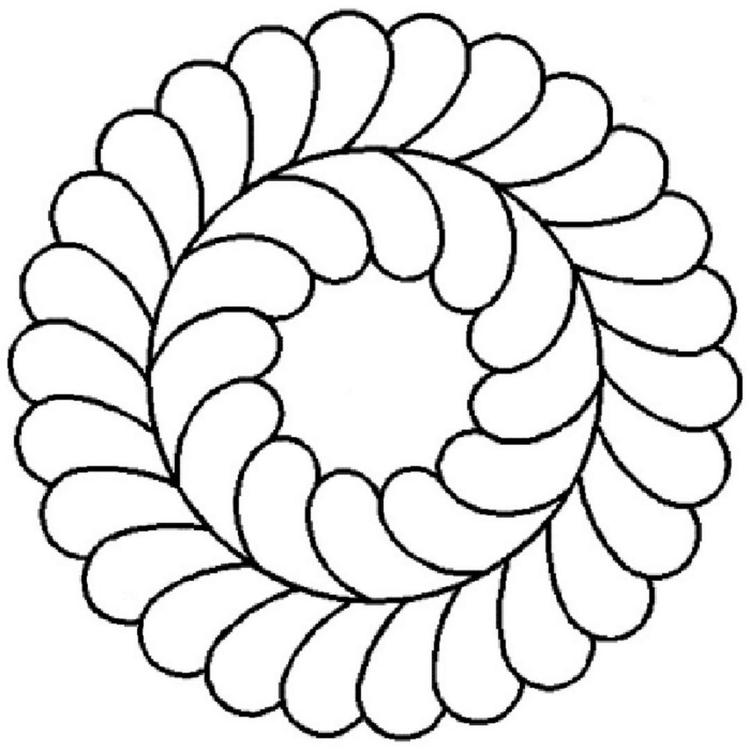 5 Feather Circle Quilting Stencil by QCI - 57