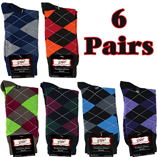 Mens Dress Socks Argyle Cotton Assorted Color 6-Pack By DEBRA WEITZNER Bright Argyle Prints 10-13