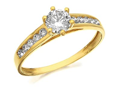a3cdd1f50 F.Hinds 9ct Yellow Gold Cubic Zirconia Ring Engagement Jewelry Women Ladies  Gift - K