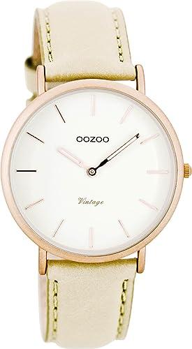 Oozoo Vintage Ultra Slim Leder 36 MM Rose/Weiss/Beige C7743