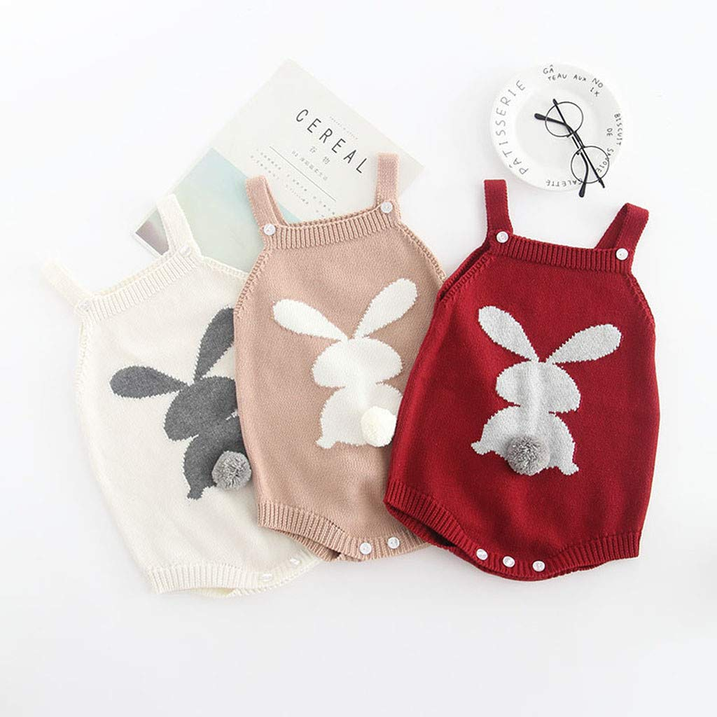Waymine Infant Girl Rabbit Embroidered Suspender Bodysuit Clothes Knit Baby Romper