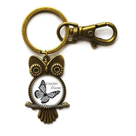 Amazon.com: Llavero con diseño de búho de mariposa, regalo ...
